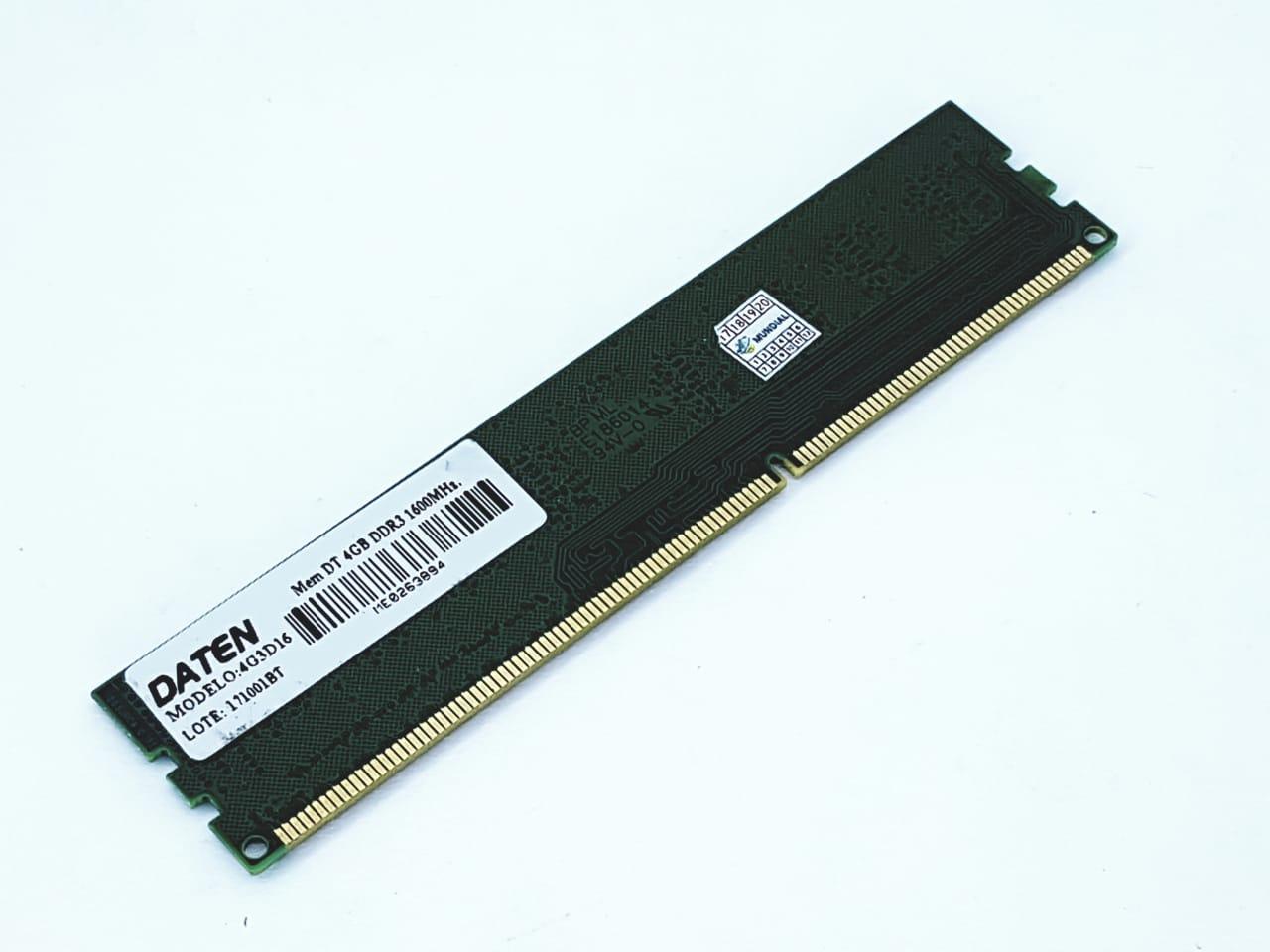 Memória PC DDR3 4G 1600Mhz Daten Semi nova DDR3