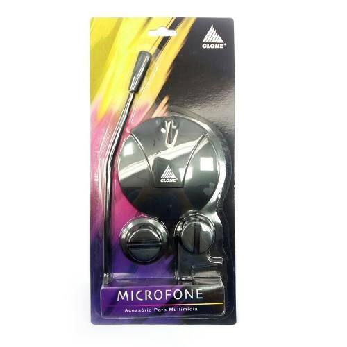 Kit 2 peças Microfone de mesa Clone + fone de ouvido branco para celular