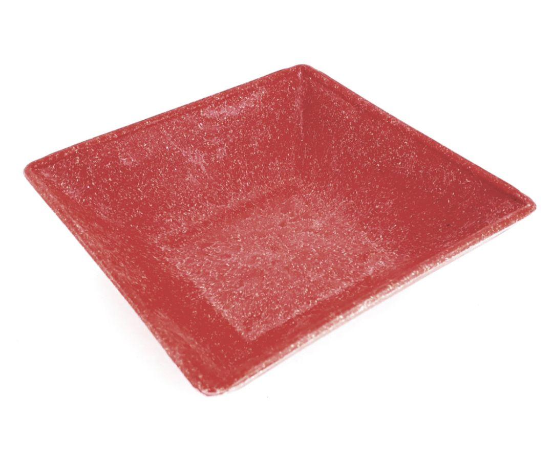 Mini Travessa Petisqueira quadrada pequena vermelha mogno de material plástico sustentável para casa e cozinha