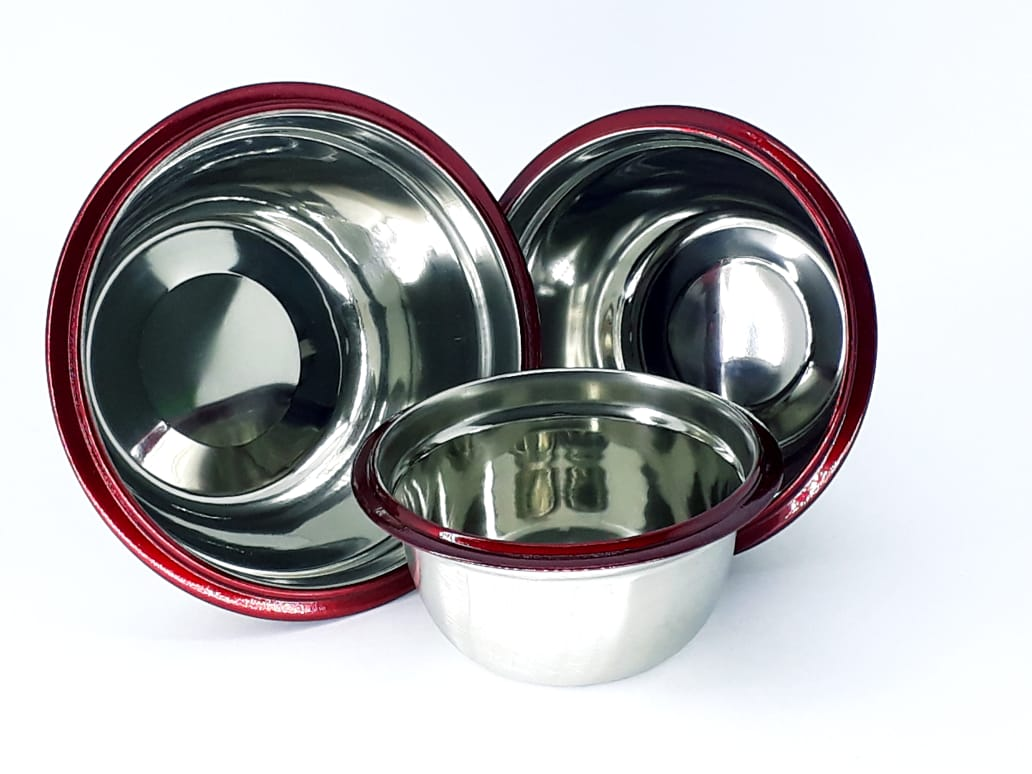 Jogo de três potes tigelas em aço inox com tampa cozinha