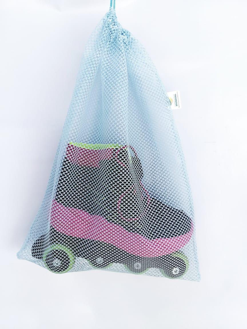 Saquinho organizador reutilizável para maternidade bebê brinquedo frutas verduras organização em geral na cor AZUL  FMU
