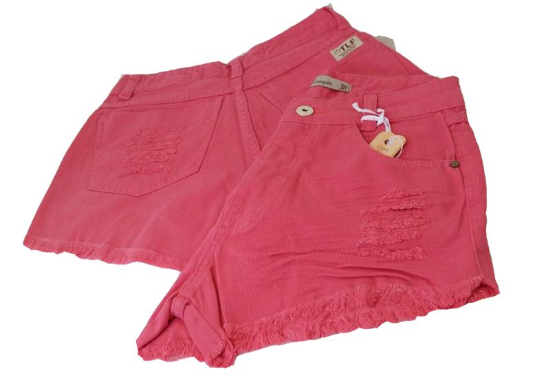 Shorts Jeans Hot Pants Cintura Alta Destroyed Rosa Chiclete
