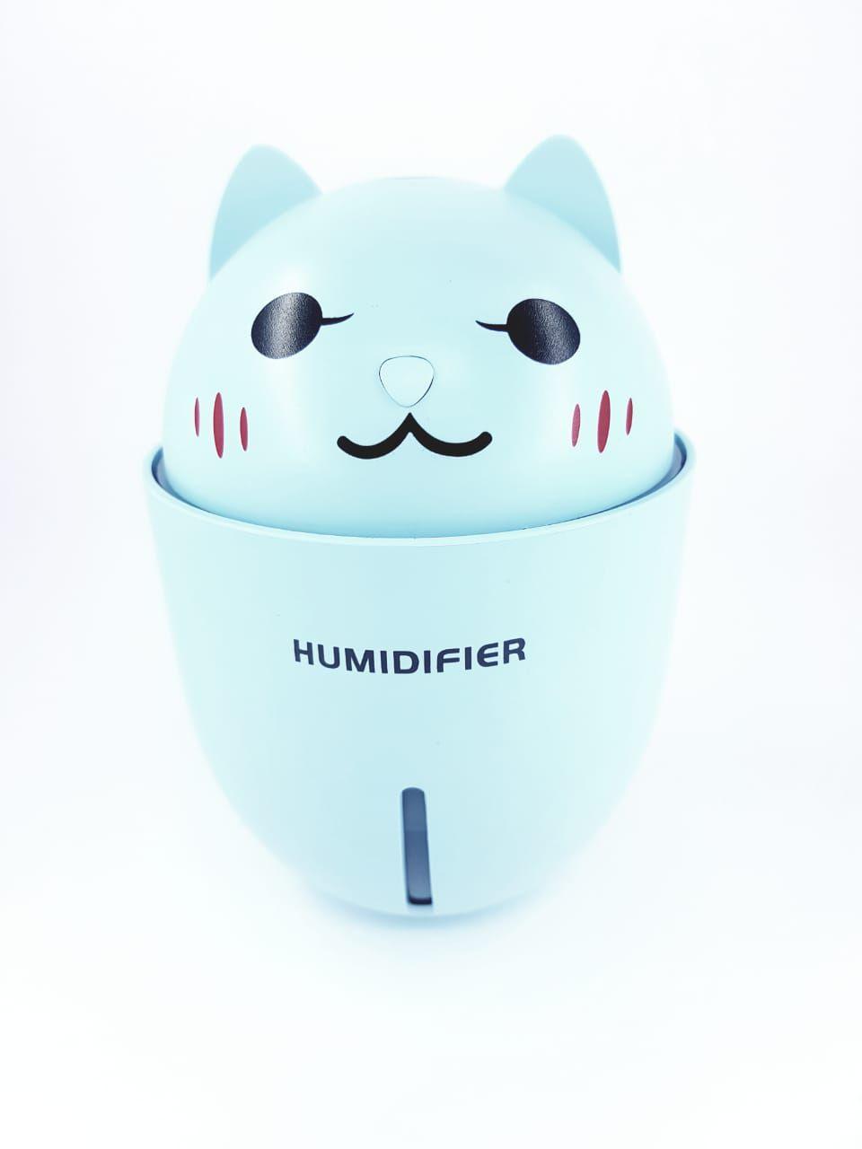 Umidificador de ar de mesa bivolt portátil com luz de led e ventilador abajur usb Azul 3 em 1