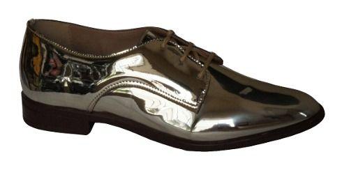 Sapato Oxford Flor Do Mar Metalizado - 320932842