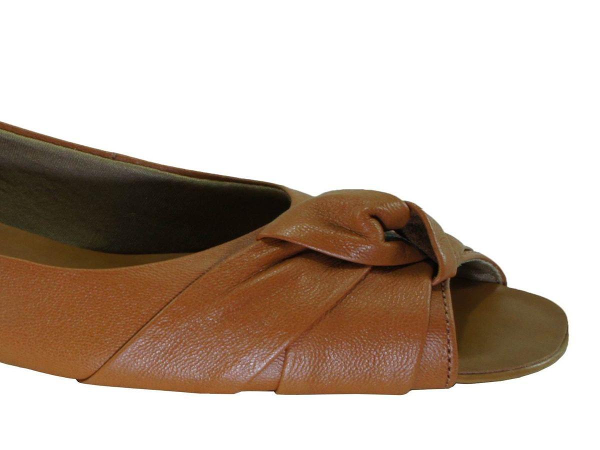 Peep Toe Usaflex Salto 2 Cm Detalhe Em No - V1825