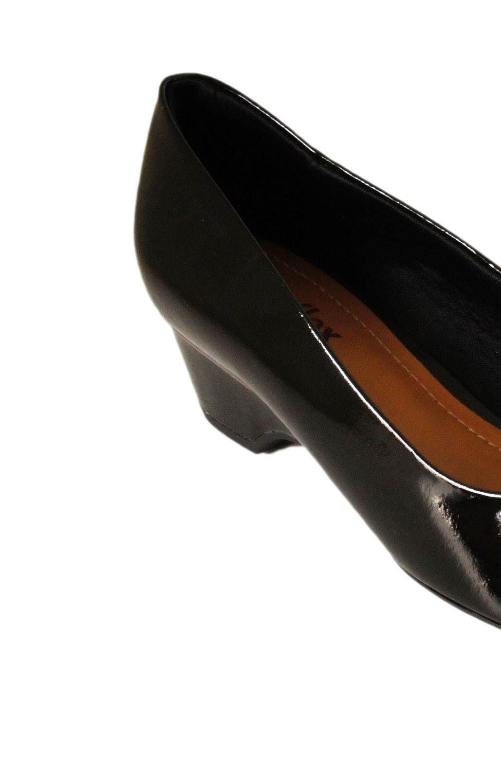 Peep Toe Usaflex Salto 4,5 Cm Grosso Liso Salto Baixo - W5601