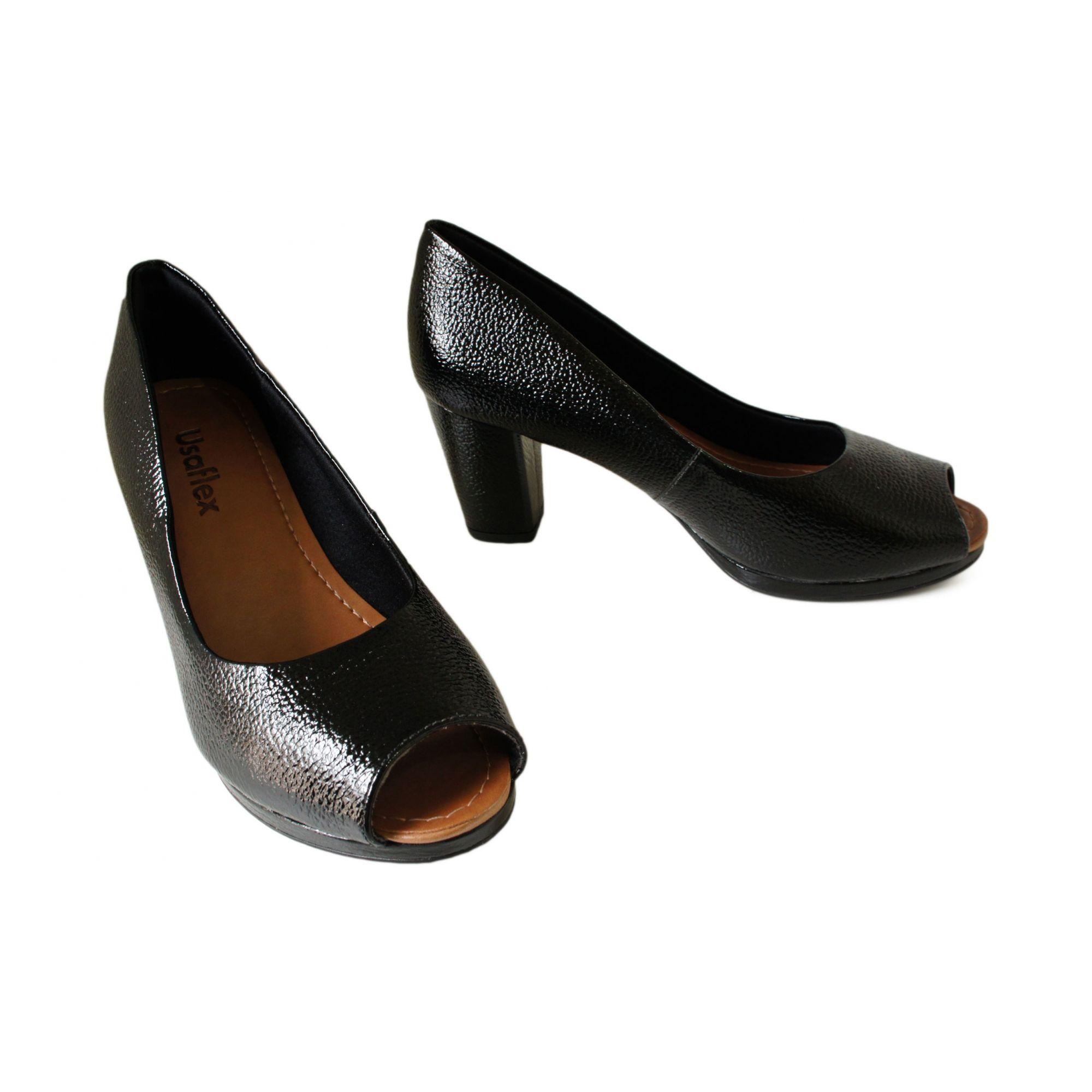 a7ab8615e Peep Toe Usaflex Salto 7,5 Cm Grosso Liso Basico - Y9208 - Celeste Calçados