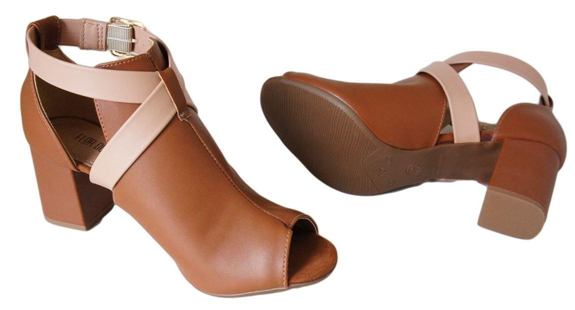 Sandalia Flor Do Mar Salto 6,7 Cm Grosso Fechada Ankle - RM750855431