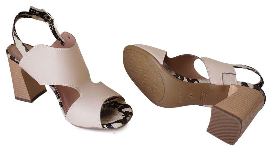 Sandalia Flor Do Mar Salto 8 Cm Grosso Detalhe Cobra - VS130312523