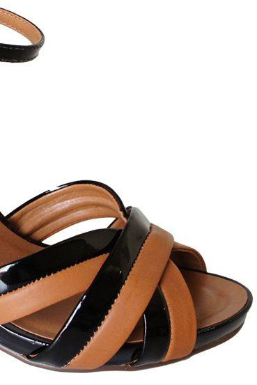 Sandalia Flor Do Mar Salto 9 Cm Grosso Tiras 2 Cor - 53710