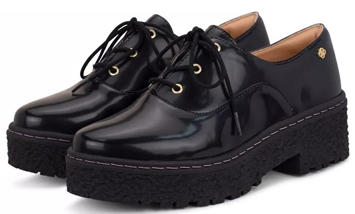 Sapato Petite Jolie Salto 5,5 Cm Grosso Oxford Tratorado Verniz - PJ3109