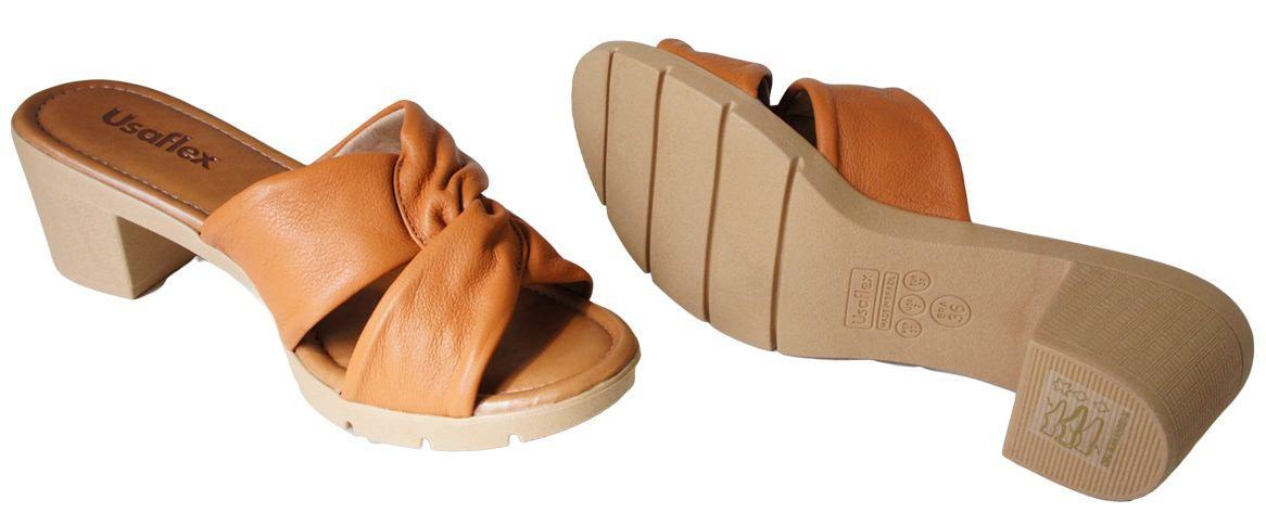 87a1c4a0b Tamanco Usaflex Salto 5 Cm Grosso No Entrelassado - AA0607 - Celeste  Calçados