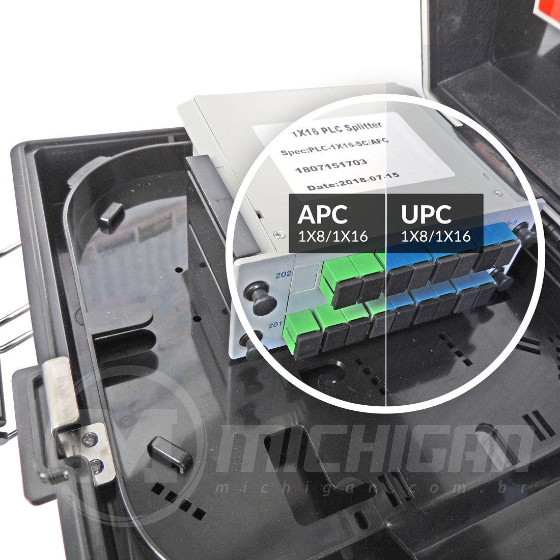 Caixa de atendimento fibra JZ-1321-16 sangria com conectores SC-UPC/SC-APC