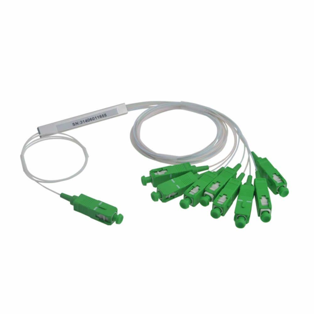 Splitter Óptico PLC 1x8 Steel Tube SC/APC - Kit 2 peças