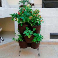 Horta Vertical com 3 Peças com Suporte Corten Vasart