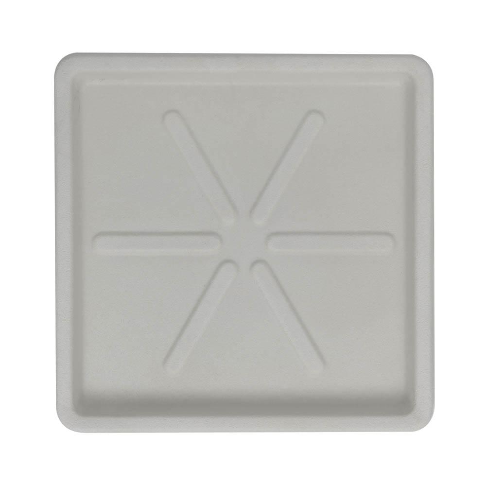 Base Quadrada 25 x 3 cm Branco Marmorizado Vasart