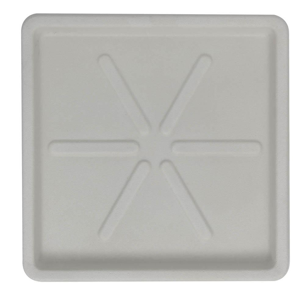 Base Quadrada 30 x 3 cm Branco Marmorizado Vasart
