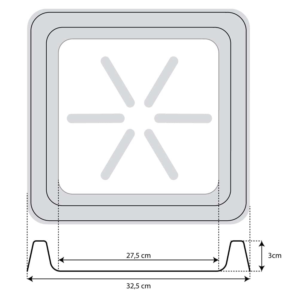 Base Quadrada 30 x 3 cm Branco Vasart