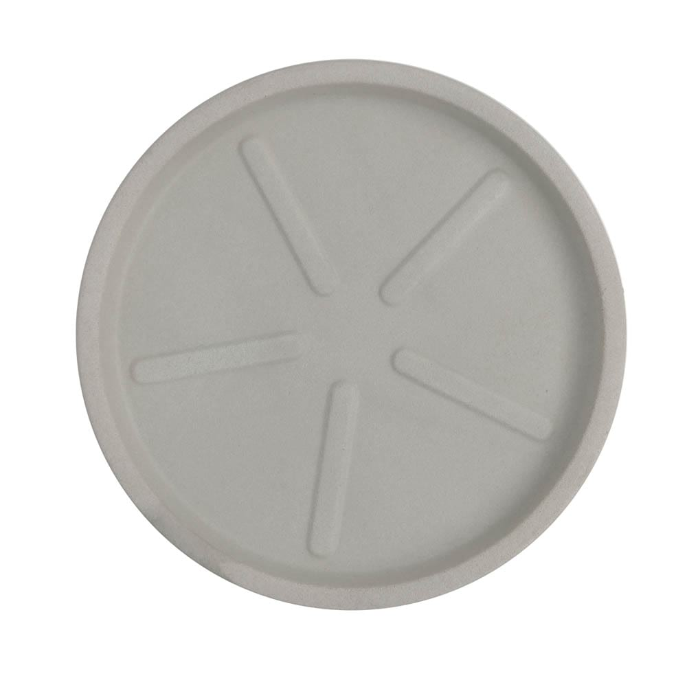 Base Redonda 36 x 3 cm Branco Marmorizado Vasart