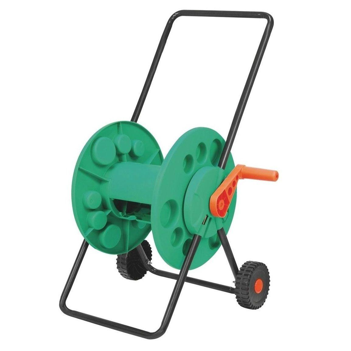 Enrolador de Mangueira com roda Capacidade para 50m de 1/2 pol