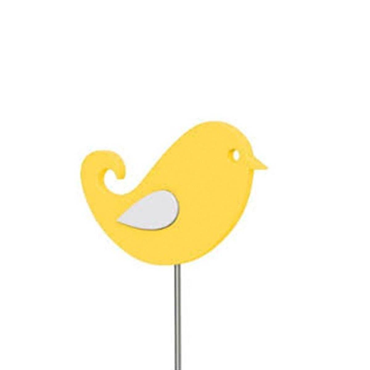 Haste Decorativa Landhaus Pássaro Amarela