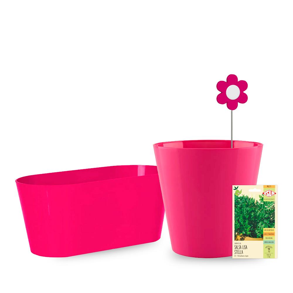 Kit Vaso Rosa - 4 Peças