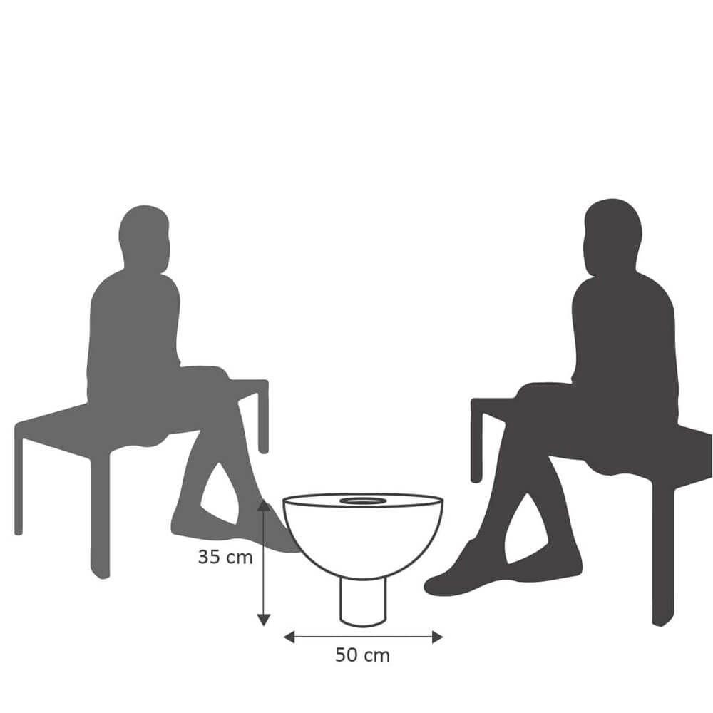 Mesa de Centro 50 x 35 cm com Vaso Branco Marmorizado Vasart