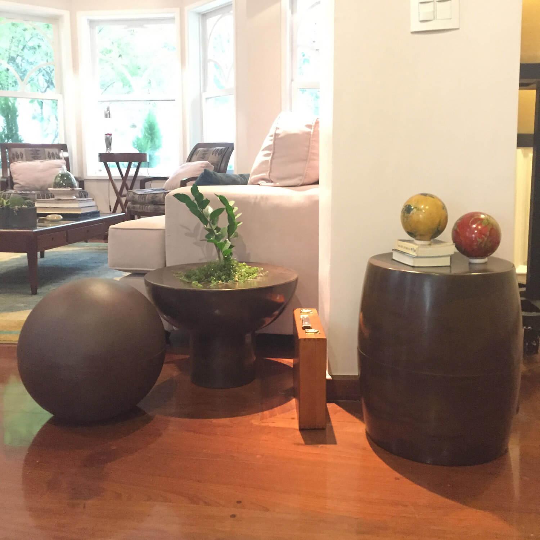 Mesa de Centro 50 x 35 cm com Vaso Granito Areia Vasart