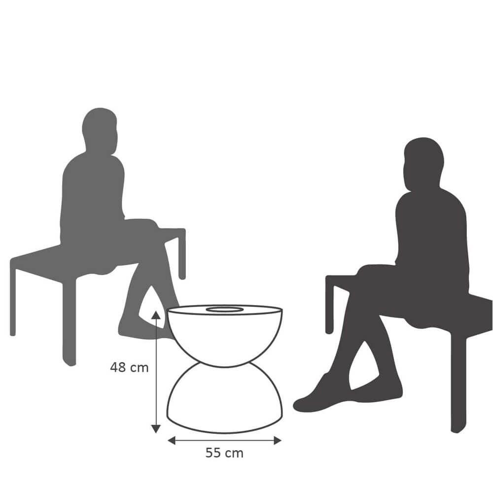 Mesa de Centro 55 x 48 cm com Vaso Preto Marmorizado Vasart
