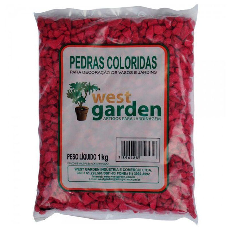 Pedras Coloridas 1KG Rosa WEST GARDEN