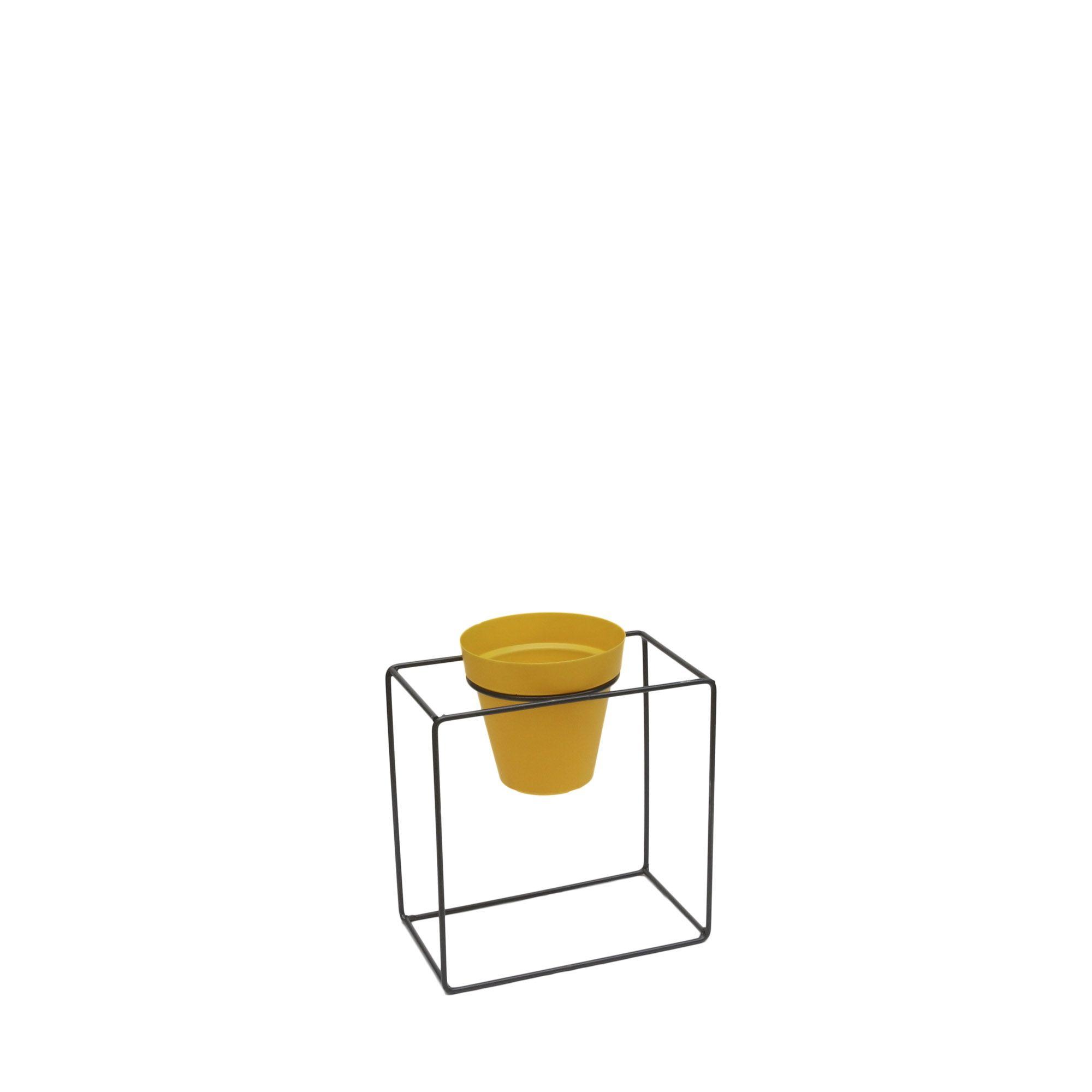 Suporte Ferro Quadrado Parede 25 x 25 cm Gratite/Preto Vasart