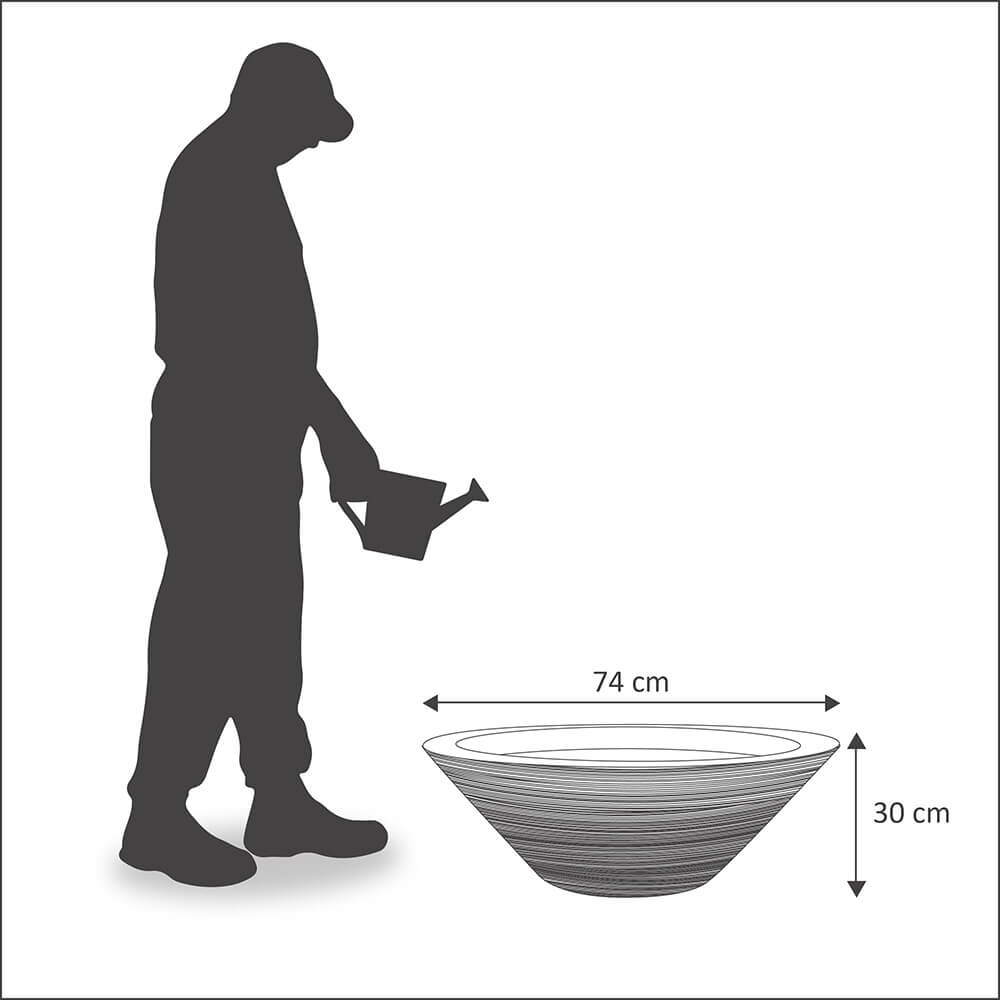Vaso Bali 74 x 30 cm Concreto Marmorizado Vasart