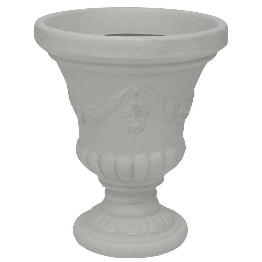 Vaso Cálice Hibisco 49 x 57 cm Branco Marmorizado Vasart
