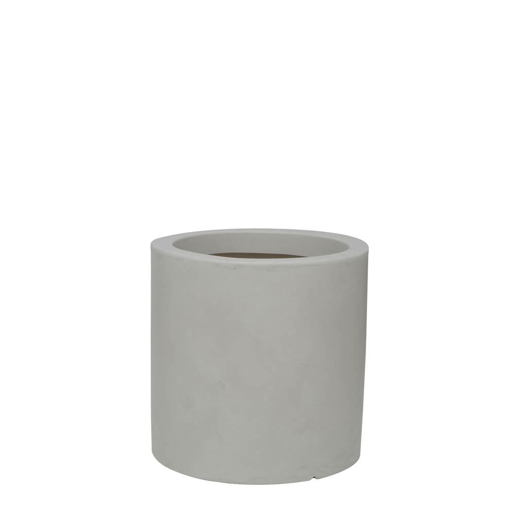 Vaso Cilindro 40 x 40 cm Branco Marmorizado Vasart