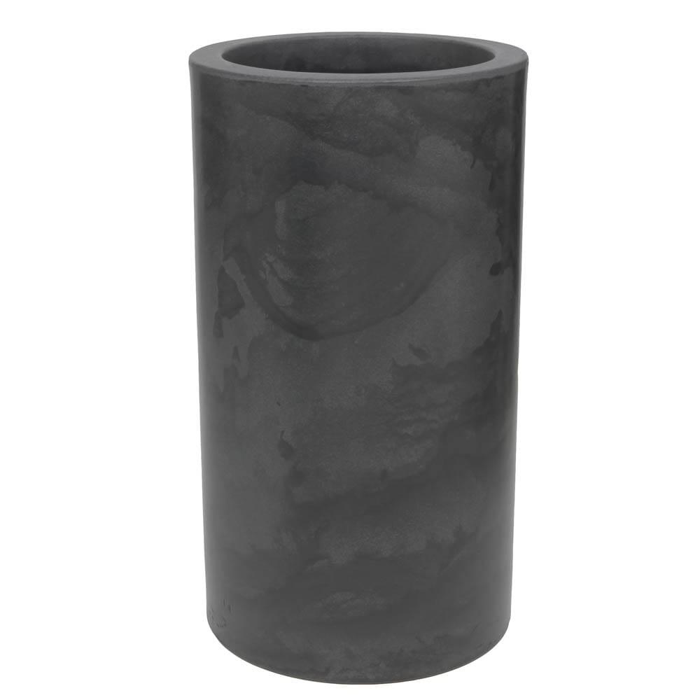 Vaso Cilindro 40 x 73 cm Preto Marmorizado Vasart