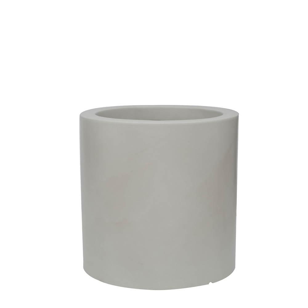 Vaso Cilindro 50 x 50 cm Branco Marmorizado Vasart