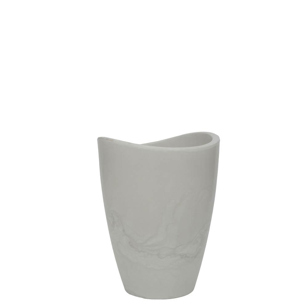 Vaso Copacabana Alto 30 x 40 cm Branco Marmorizado Vasart