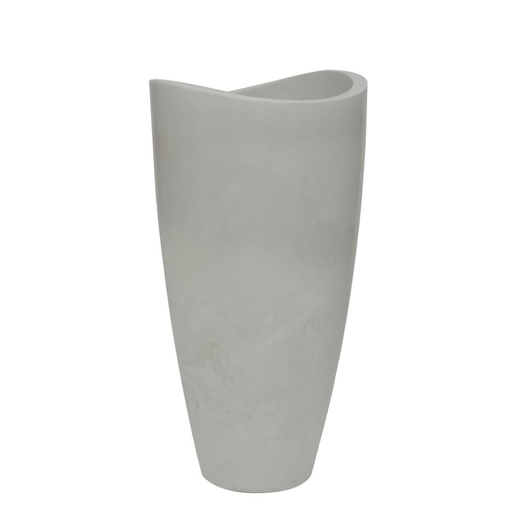 Vaso Copacabana Alto 40 x 80 cm Branco Marmorizado Vasart