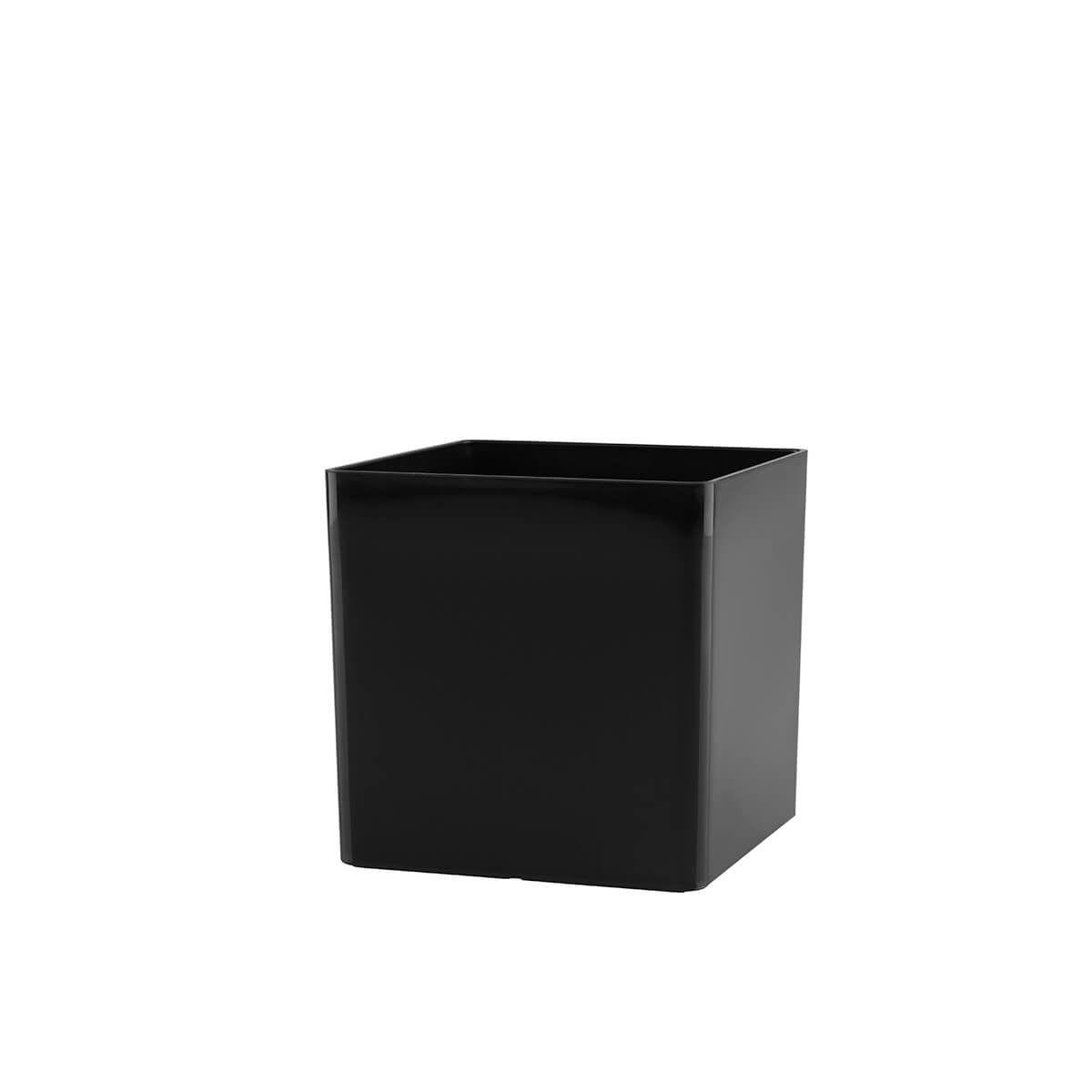 Vaso Cubo 10 x 10 cm Preto Vasart