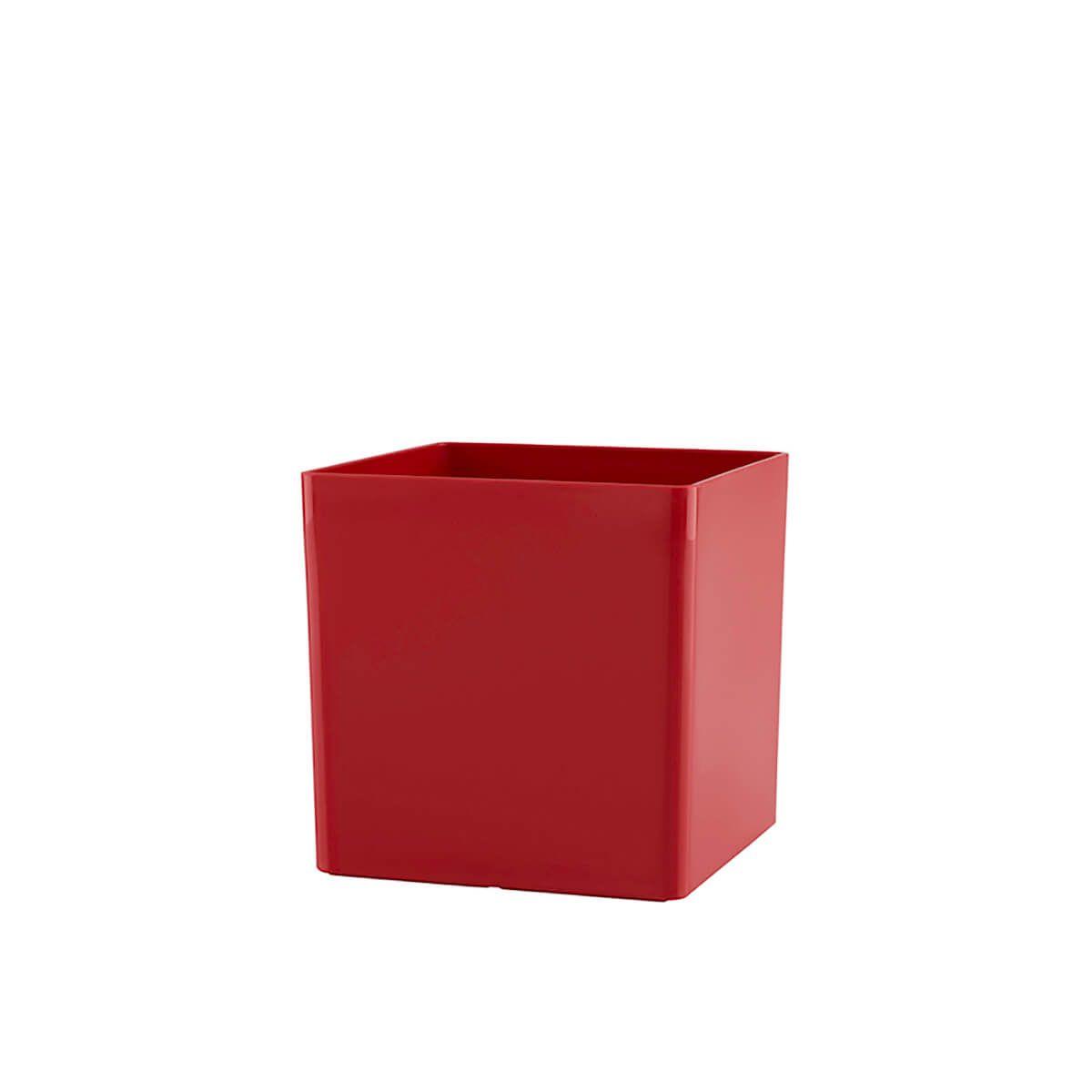 Vaso Cubo 10 x 10 cm Vermelho Vasart