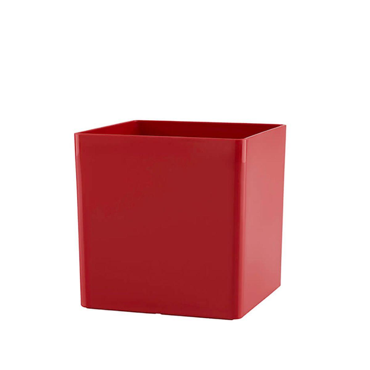 Vaso Cubo 14 x 14 cm Vermelho Vasart