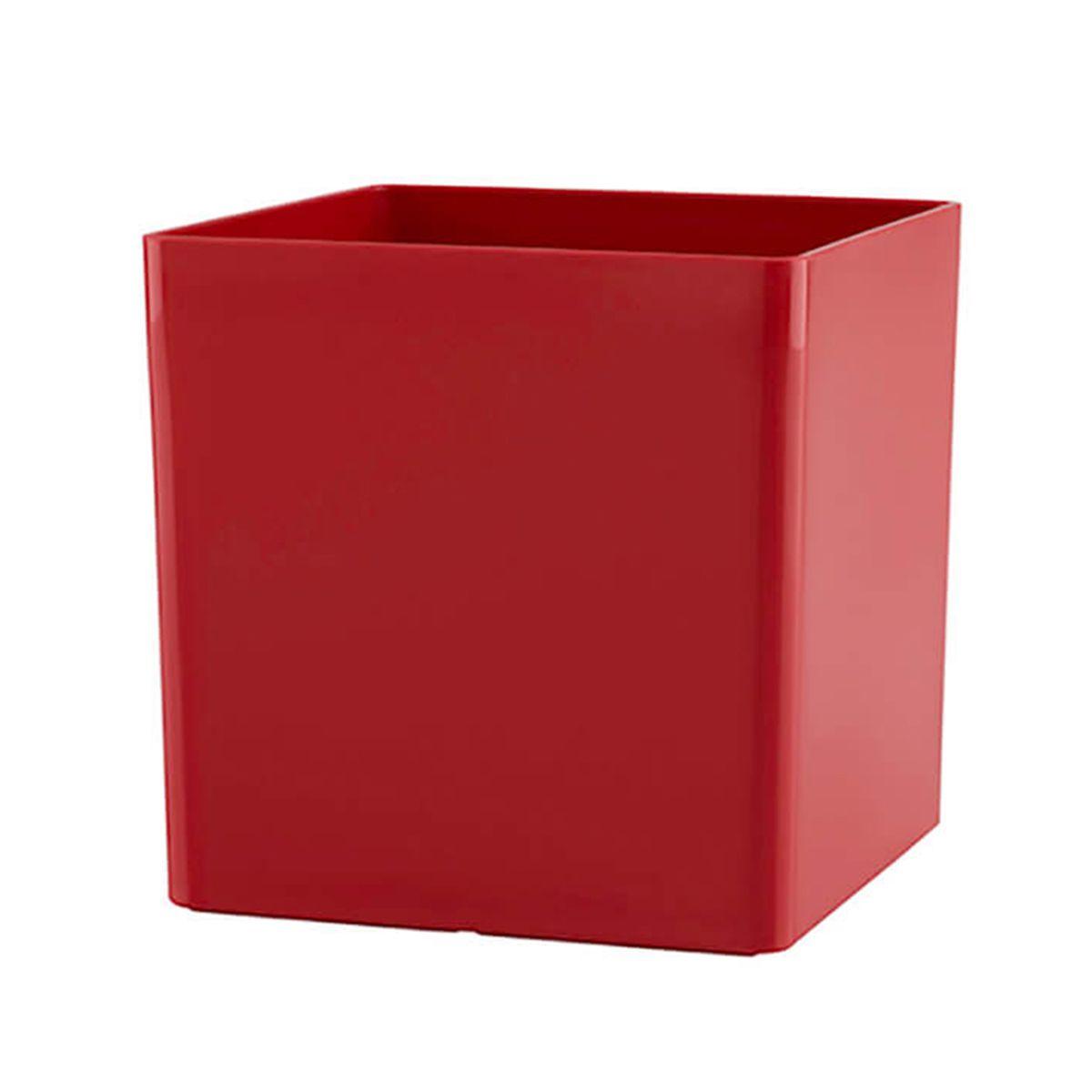 Vaso Cubo 17 x 17 cm Vermelho Vasart