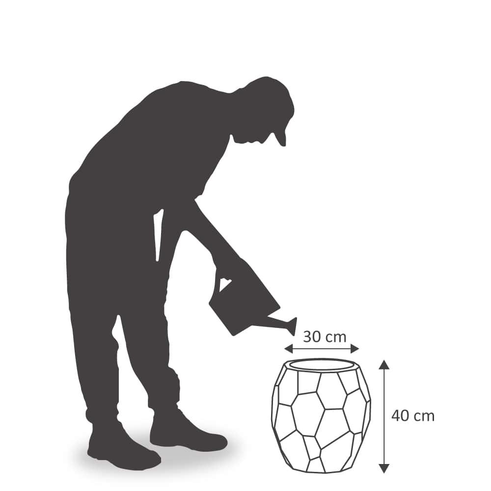 Vaso Geo 39 x 40 cm Preto Marmorizado Vasart
