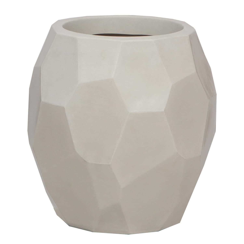 Vaso Geo 45 x 47 cm Branco Marmorizado Vasart