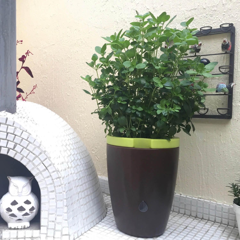Vaso Maré Auto-irrigável Verde e Preto Marmorizado Vasart