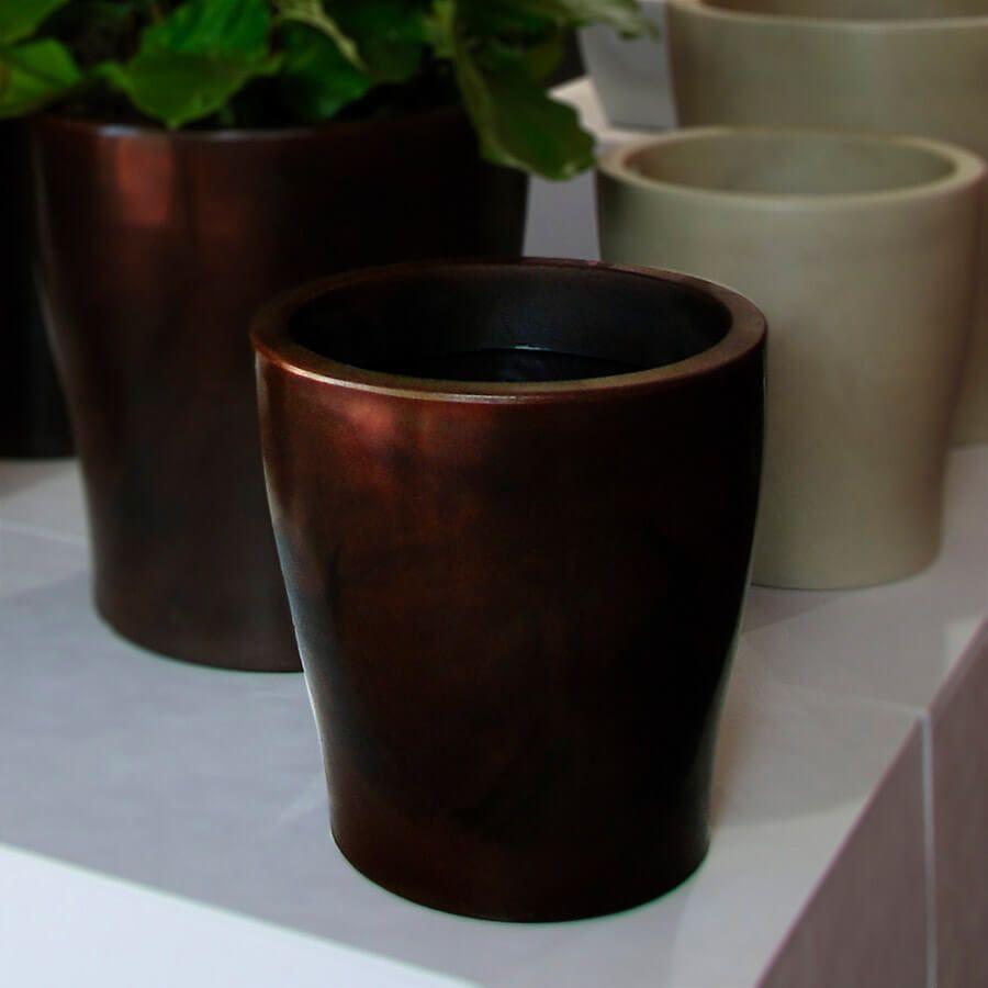 Vaso Milão 37 x 37 cm Preto Marmorizado Vasart