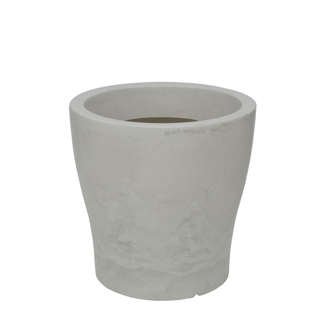 Vaso Milão 47 x 47 cm Branco Marmorizado Vasart