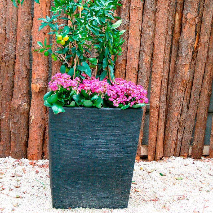 Vaso Terra Trapézio 30 x 35 cm Granito Pedra Vasart