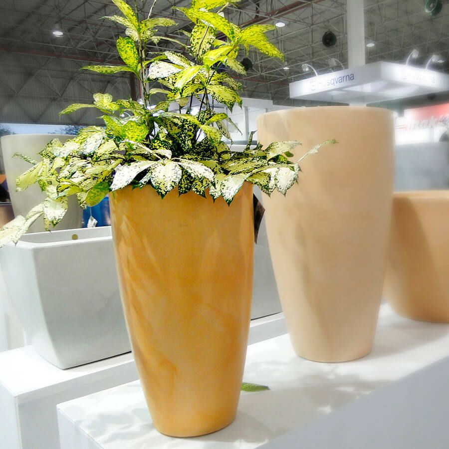 Vaso Verona Alto 30 x 53 cm Branco Marmorizado Vasart