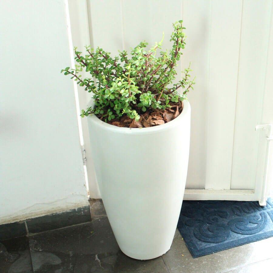 Vaso Verona Alto 40 x 70 cm Preto Marmorizado Vasart